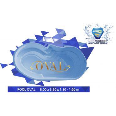 OVAL 8,00 x 3,50 x 1,10-1,60 m